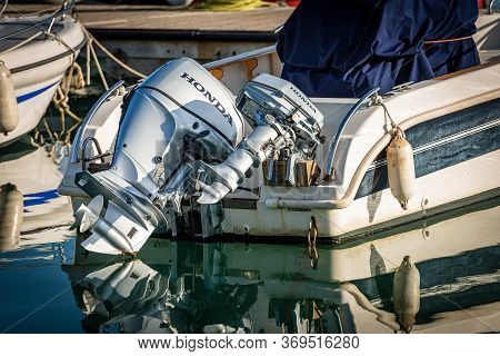 Port Of La Spezia, Liguria, Italy - Dec 27, 2018: Close-up Of A Motorboat Moored In The Port With Tw