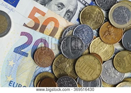 The Currency Of European Countries, The Us Currency. Cash Paper Money And Metal Cents. Cash Is Stack