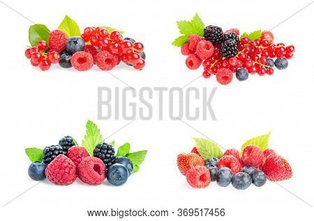 Healthy Fresh Food. Different Berries Collage Set. Macro Shots Of Fresh Raspberries, Blueberries, Bl