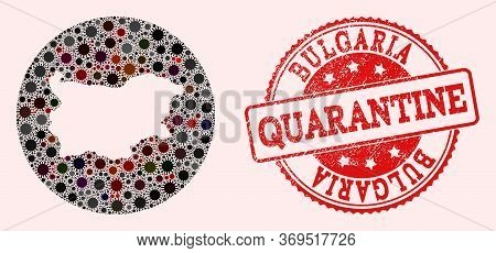Vector Map Of Bulgaria Mosaic Of Coronavirus And Red Grunge Quarantine Stamp. Infection Cells Attack