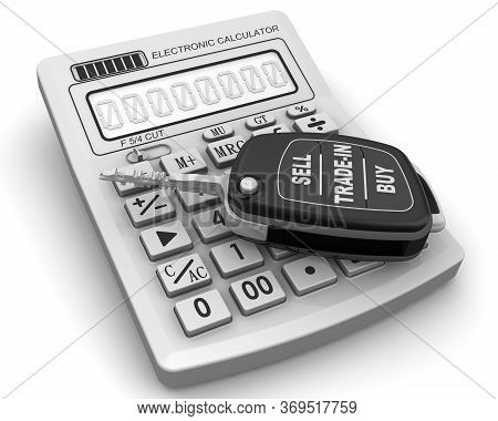 Sell, Trade-in, Buy Of The Car. The Ignition Key Of The Car In The Open Position With The Inscriptio