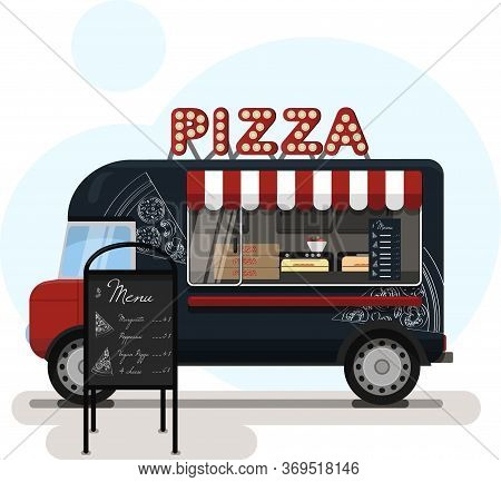 Street Food Truck With Pizza. Vector Flat Illustration Of A Pizza Place On Wheels With A Striped Awn