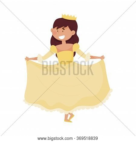 Little Princess With Dark Hair Wearing Crown And Dressy Look Garment Vector Illustration