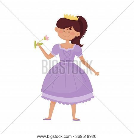 Smiling Princess With Dark Hair Wearing Crown And Dressy Look Garment Holding Flower In Her Hands Ve
