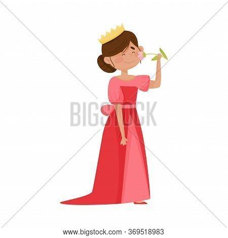 Smiling Princess With Dark Hair Wearing Crown And Dressy Look Garment Smelling Flower Vector Illustr