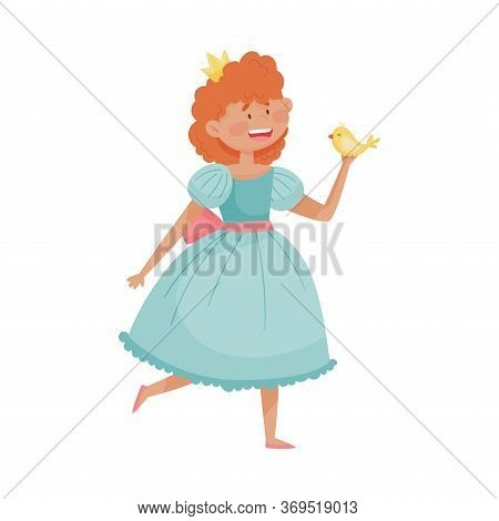 Smiling Princess With Red Hair Wearing Crown And Dressy Look Garment Holding Bird In Her Hands Vecto