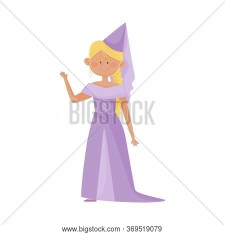 Smiling Princess With Blonde Hair Wearing Cone Shaped Hat And Dressy Look Garment Vector Illustratio