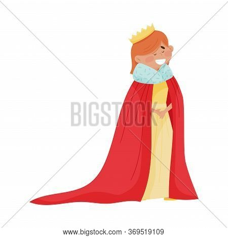 Little Princess With Red Hair Wearing Crown And Dressy Cloak Vector Illustration