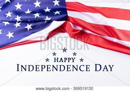 Independence Day, Happy Memorial Day, Veterans Day. American Flags With Text Happy Independence Day