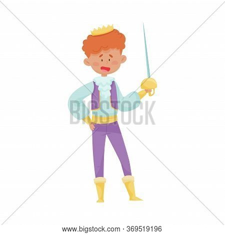 Red Haired Prince With Golden Crown Wearing Dressy Costume Doing Fencing Vector Illustration