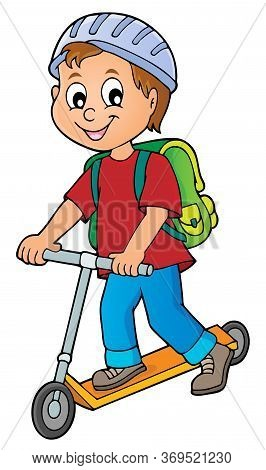 Boy On Kick Scooter Theme Image 1 - Eps10 Vector Picture Illustration.