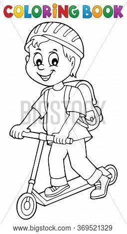 Coloring Book Boy On Kick Scooter Theme 1 - Eps10 Vector Picture Illustration.