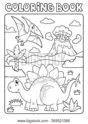 Coloring Book Dinosaur Composition Image 1 - Eps10 Vector Picture Illustration.