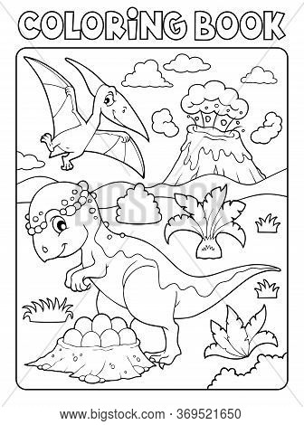 Coloring Book Dinosaur Subject Image 7 - Eps10 Vector Picture Illustration.