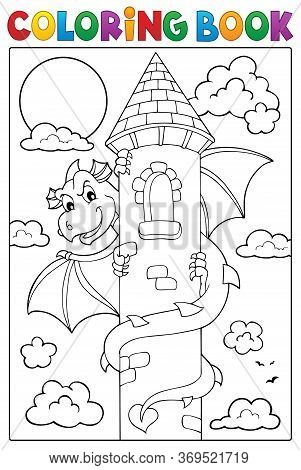 Coloring Book Dragon On Tower Image 1 - Eps10 Vector Picture Illustration.
