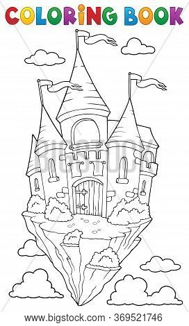 Coloring Book Flying Castle Theme 1 - Eps10 Vector Picture Illustration.