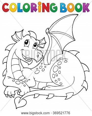 Coloring Book Lying Dragon Theme 1 - Eps10 Vector Picture Illustration.
