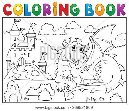 Coloring Book Lying Dragon Theme 2 - Eps10 Vector Picture Illustration.