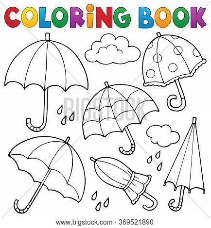 Coloring Book Umbrella Theme Set 1 - Eps10 Vector Picture Illustration.