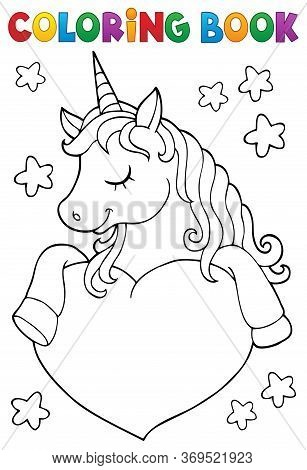 Coloring Book Unicorn And Heart 1 - Eps10 Vector Picture Illustration.