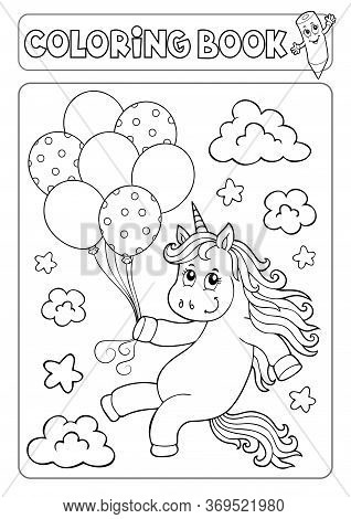Coloring Book Unicorn With Balloons 1 - Eps10 Vector Picture Illustration.