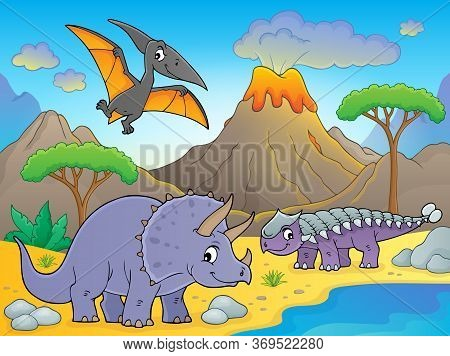 Dinosaurs Near Volcano Image 1 - Eps10 Vector Picture Illustration.
