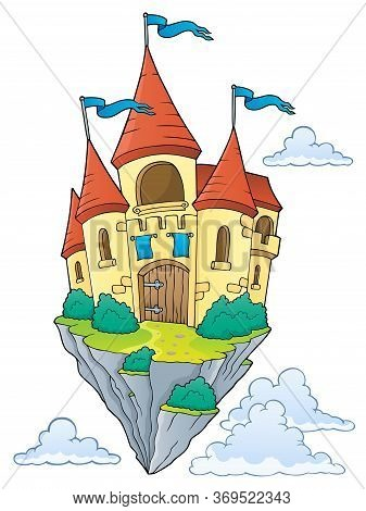 Flying Castle Theme Image 1 - Eps10 Vector Picture Illustration.