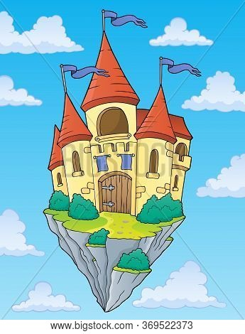 Flying Castle Theme Image 2 - Eps10 Vector Picture Illustration.