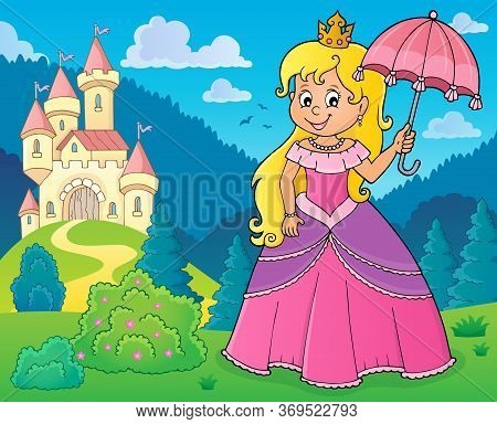 Princess With Umbrella Theme Image 2 - Eps10 Vector Picture Illustration.
