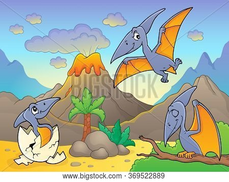 Pterodactyls Near Volcano Image 1 - Eps10 Vector Picture Illustration.