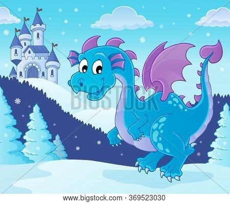 Winter Dragon Theme Image 1 - Eps10 Vector Picture Illustration.