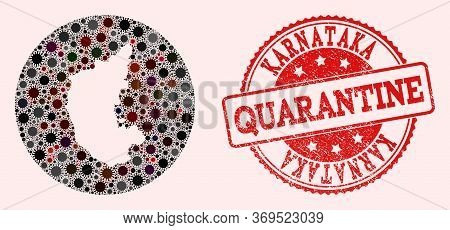 Vector Map Of Karnataka State Mosaic Of Flu Virus And Red Grunge Quarantine Stamp. Infection Cells A