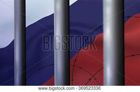 Background Prison, Jail In Russian Federation, Tricolour. Oppressive And Repressive Penal System Of