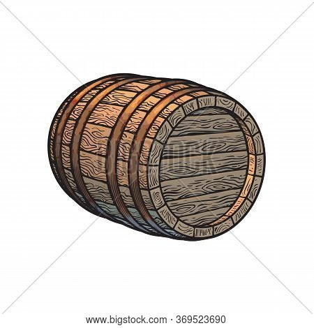 Old Wooden Barrel Lying On Its Side. Beer, Wine, Rum Whiskey Barrel Three Quarters View In Vintage E