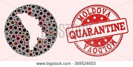 Vector Map Of Moldova Collage Of Covid-2019 Virus And Red Grunge Quarantine Seal Stamp. Infection Ce