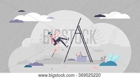 Work Safety Vector Illustration. Trauma Risk In Job Place Flat Tiny Persons Concept. Irresponsible H