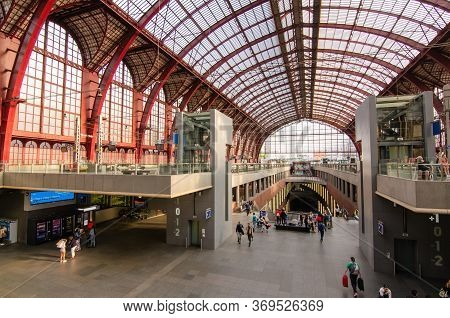 Antwerp, Flanders, Belgium. August 2019. After Passing The Historic Entrance To The Station, We Find