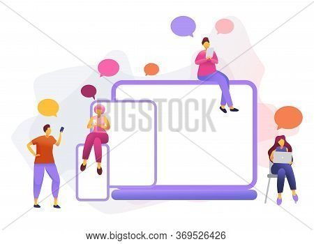 Cartoon Icon With Social Media Communication Characters. That Chat In Phone, Tablet, Notebook With T