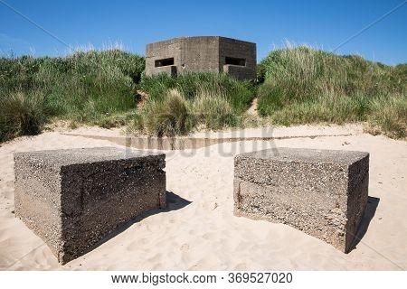 A Fortified British Army Pillbox On The East Coast Of The Uk At Fraisthorpe Beach Near Bridlington,