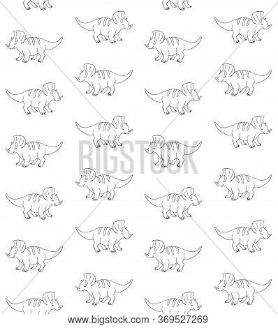 Vector Seamless Pattern Of Hand Drawn Doodle Sketch Triceratops Dinosaur Isolated On White Backgroun