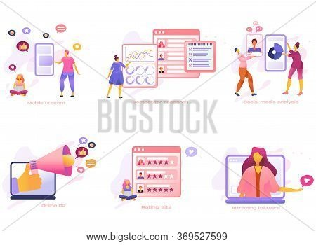 Cartoon Icon Set With Customer Care Marketing, Social Media Pr, Analysis, Research And Content Busin