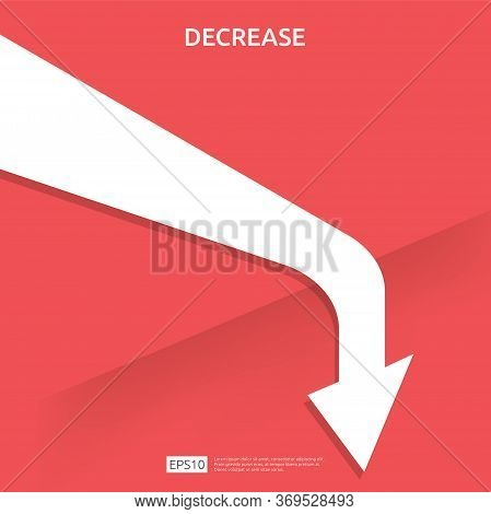 Business Finance Crisis Concept. Money Fall Down Symbol. Arrow Decrease Economy Stretching Rising Dr