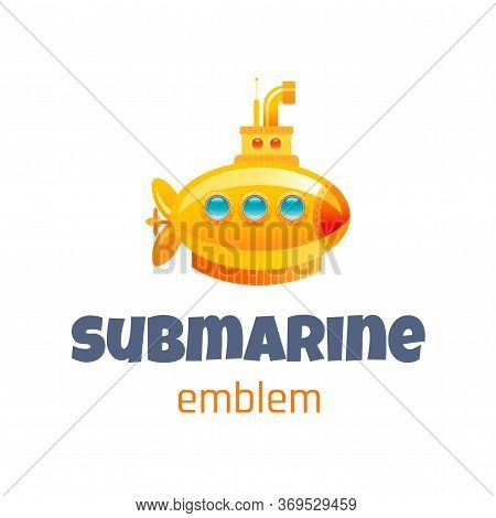 Vector Illustration Of Cute Baby Toy Logo Isolated On White Background. 3d Yellow Submarine. Templat