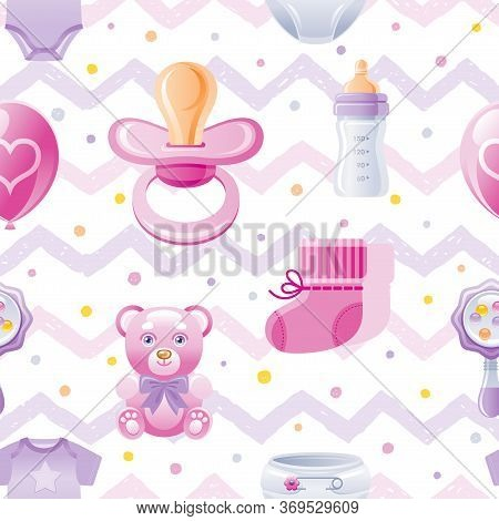 Girl Baby Shower Seamless Pattern. Cute Cartoon Wallpaper Background Whith Kid Icons - Pacifier, Bea