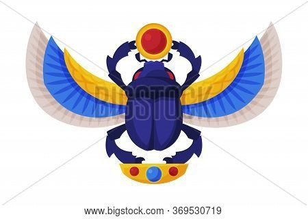 Egyptian Scarab Beetle With Wings And Sun, Symbol Of Pharaoh And God Ra Flat Style Vector Illustrati