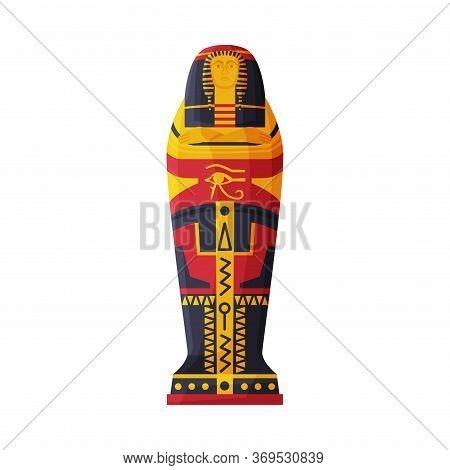 Sarcophagus Of Egyptian Pharaoh Flat Style Vector Illustration On White Background
