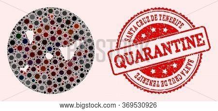 Vector Map Of Santa Cruz De Tenerife Province Collage Of Flu Virus And Red Grunge Quarantine Stamp.