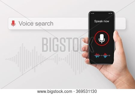 Voice Search Application. Female Hand Holding Smart Phone Websurfing Internet Using Speech Recogniti
