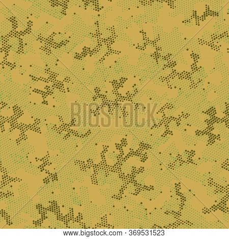 Brown Repeated Digital Camouflage, Vector Print.  Seamless Graphic Green Spots, Camo Clouds. Beige R