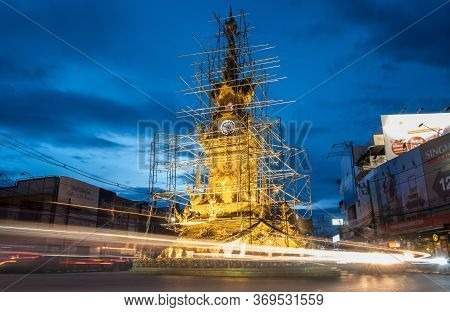 Chiang Rai, Thailand : 01 September 2018 : View Of Golden Clock Tower In The Downtown Of Chiang Rai